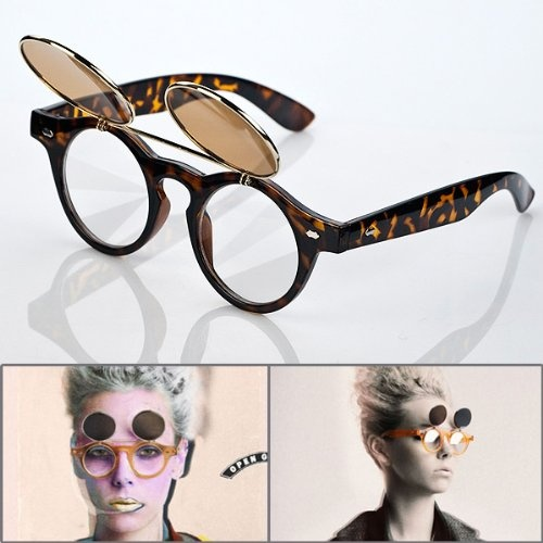 1 Pair Retro Unique Steampunk Style Costume Round Glass Flip Up Clear Lens Golden Frame Brown Sunglasses Glasses Eyewear Lens with Microfiber Storage Pouch - http://releasingsteam.com/1-pair-retro-unique-steampunk-style-costume-round-glass-flip-up-clear-lens-golden-frame-brown-sunglasses-glasses-eyewear-lens-with-microfiber-storage-pouch/