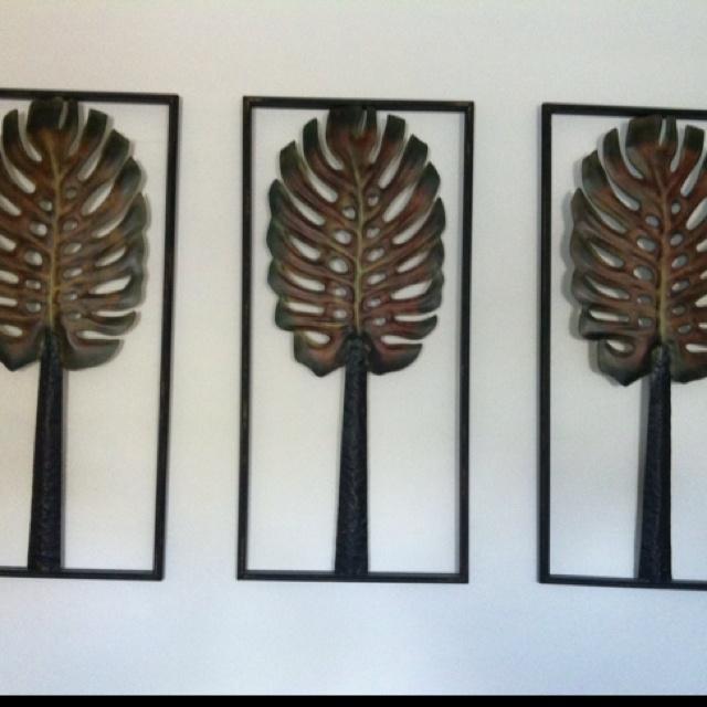 Monstera leaves on my bedroom wall