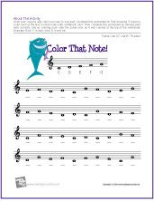 Worksheet to help kids learn and recognize note names. It also uses color to add another way to recognize notes.