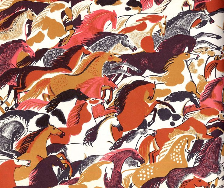 I want this so badly hanging in my home, huge and joy inducing. dahlov ipcar, world full of horses, 1955 :: (via surrednnr dorothy + the animalarium)