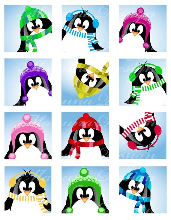 SALE Cute Christmas Pinguin CS04 2 inch printable by manuna, $2.00