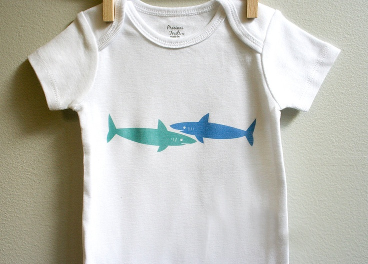 //Baby boy onesie, sharks. Short or long sleeve. Your choice of size.. $13.00, via Etsy.