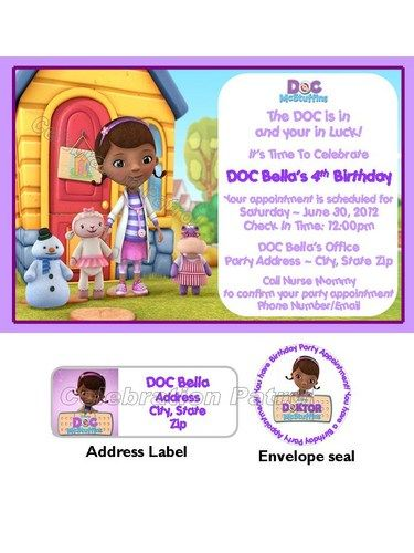 Doc Mcstuffins Birthday Invitations W Address Labels Envelope