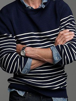 The denim cuffs and collars poking out...<3 #menswear #fashion #clothing #men #shirt #sweater #nautical #preppy #denim #casual #style