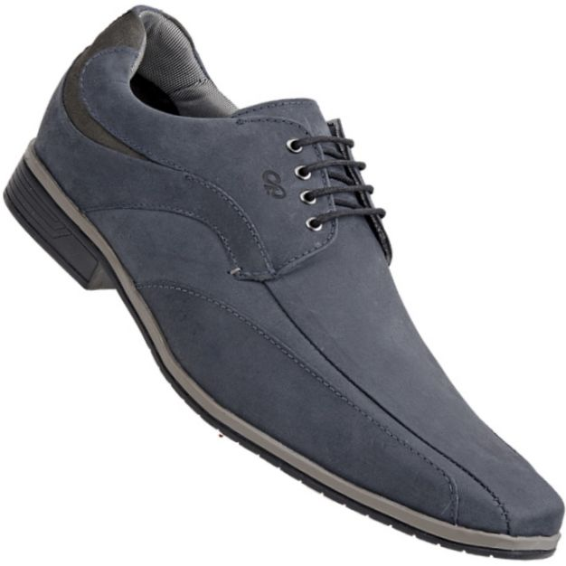 Sapato Calprado Rústico Social C/ Cadarço Masculino Chumbo