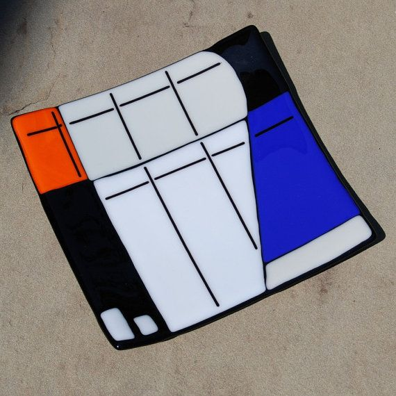 Mondrian Inspired Fused Art Glass Plate Wedding by FirstLightGlass, $70.00