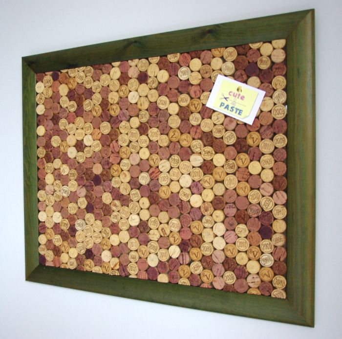 Green Recycled Wine Cork Notice Board available here >> www.cuteandpaste.co.