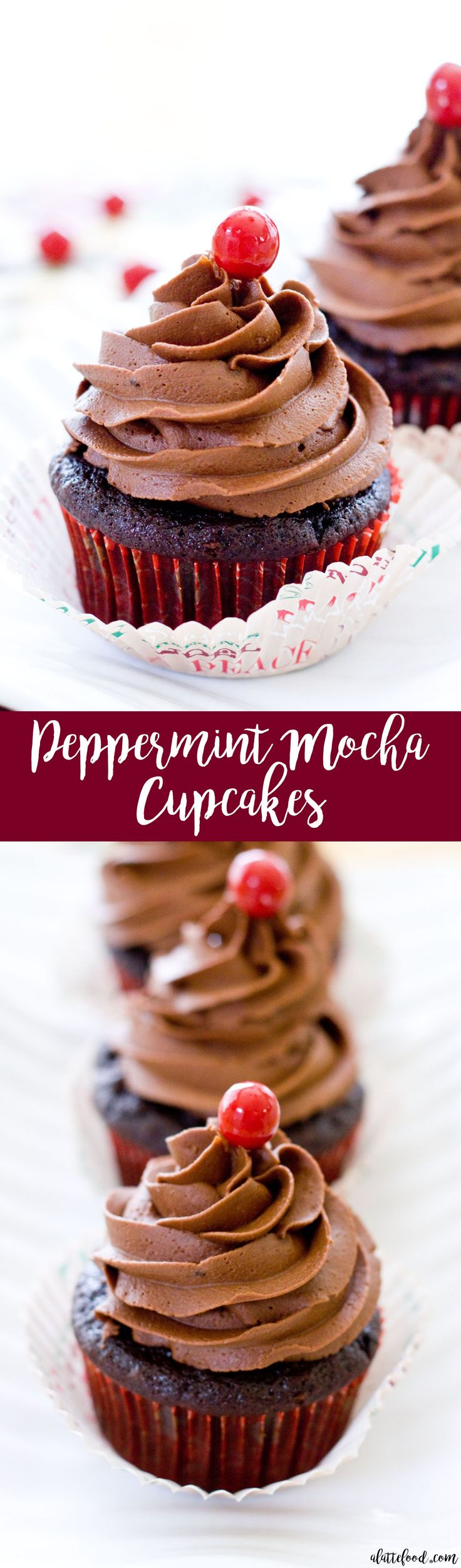 These peppermint mocha cupcakes are rich chocolate cupcakes topped with peppermint chocolate frosting! The best holiday dessert!