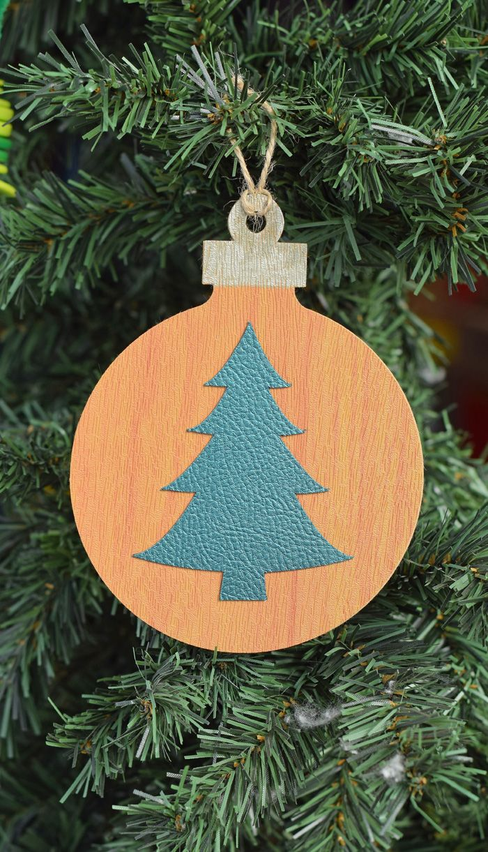 Faux Leather Christmas Tree Ornament Made With The Cricut Explore Air 2 Christmas Ornaments Handmade Christmas Tree Diy Christmas Ornaments