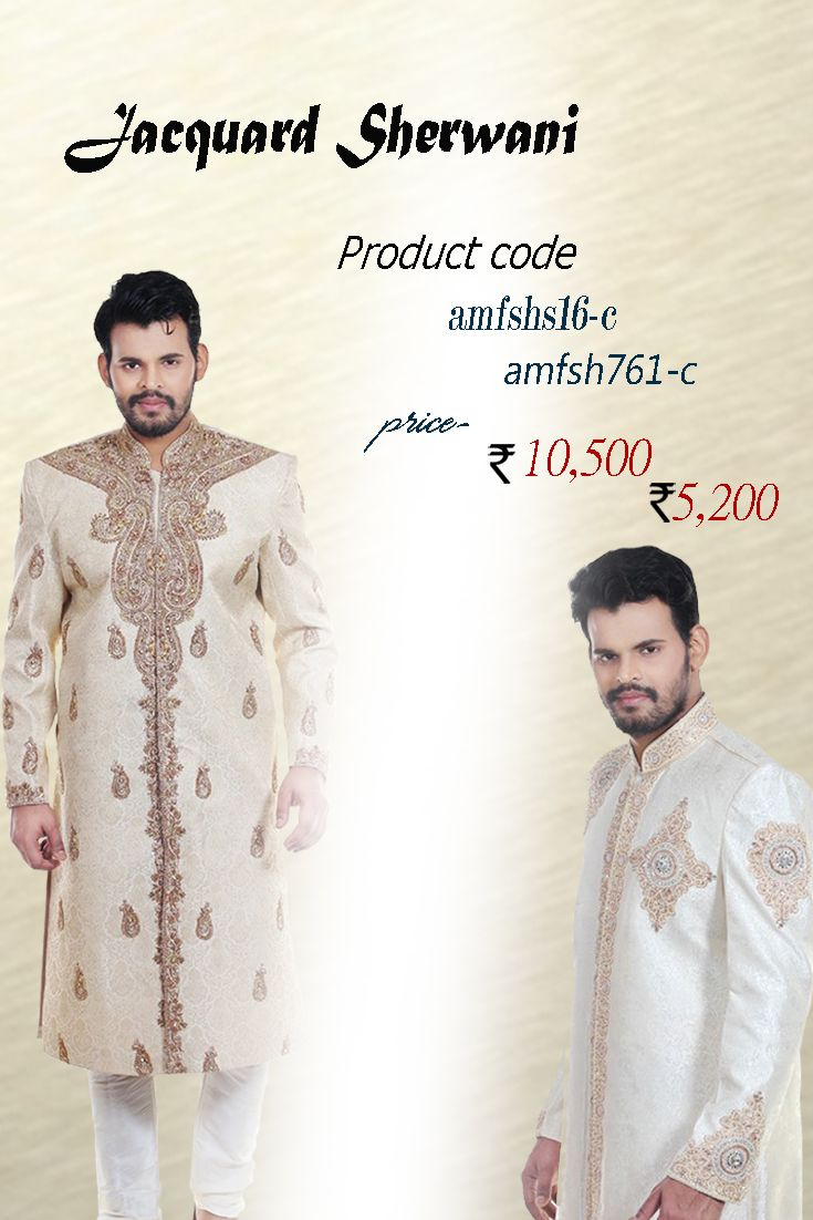 Benarasi Silk Jacquard Sherwani Be the one to define your own style owning this good looking cream shade benarasi jacquard sherwani