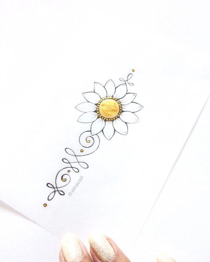 """30 curtidas, 3 comentários - TATTOO CREATOR ☾ ALINE (@alinecoill) no Instagram: """"• G I R A S S O L • Ou margarida?  #unalome #unalometattoo #sunflower #sunflowertattoo…"""""""