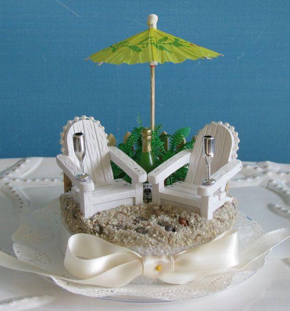 adirondack chairs beach umbrella wedding cake topper