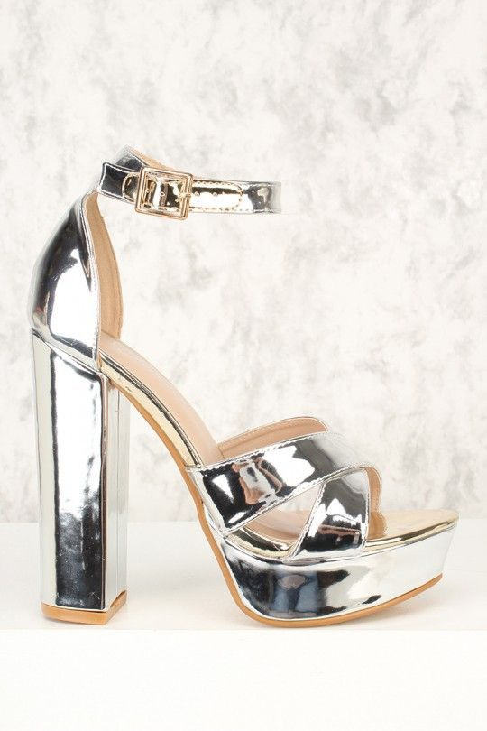 6702812cba6 Sexy Silver Criss Cross Open Toe Platform Pump Chunky High Metallic Faux  Leather Silver Platform Shoes