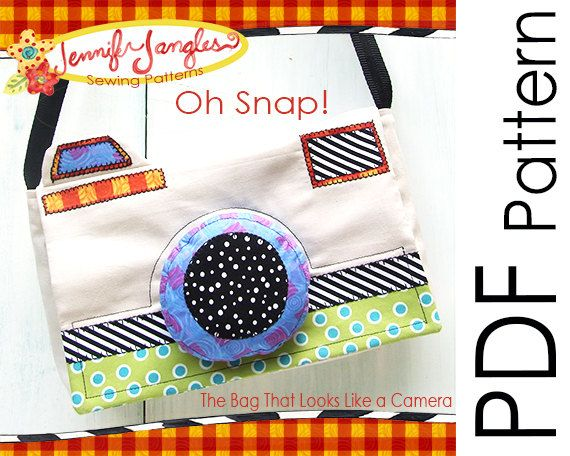 Jennifer's cute PDF Camera Purse Sewing Pattern  Oh Snap by Jangles on Etsy, $6.95