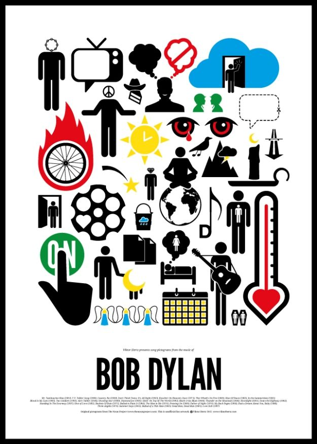 Classic Rock Songs Transformed Into Pictograms.  Bob Dylan.