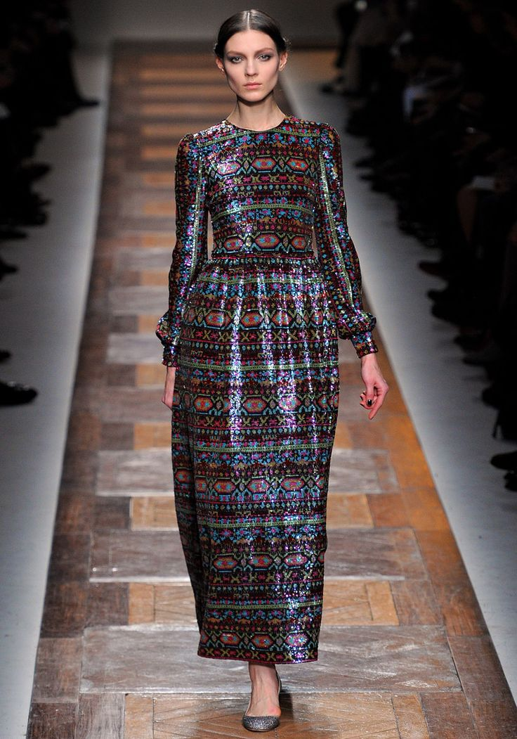 Folk inspired evening gown at Valentino Fall 2012 RTW