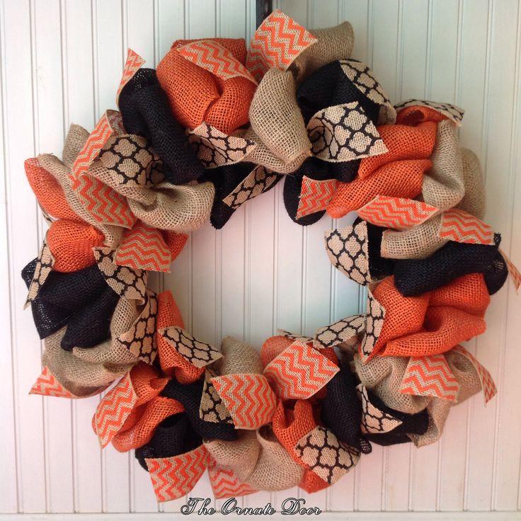 Fall burlap wreath, fall wreath, Halloween wreath, Halloween burlap wreath, orange, black, and burlap wreath, fall colors burlap wreath by TheOrnateDoor on Etsy
