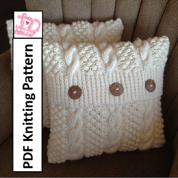 Could make from a sweater! cable knitting cushion pattern | PDF KNITTING PATTERN Blackberry Cables 16 x 16 by LadyshipDesigns