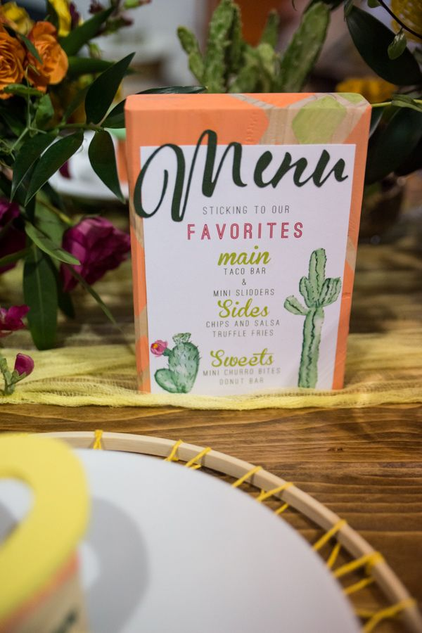 cactus menu - photo by Amanda Photographic http://ruffledblog.com/bright-wedding-ideas-inspired-by-mexico
