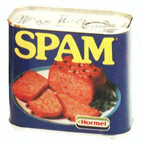 Spam. Spam fritters for school dinner. Yuk. - You either love it or hate it,  I hated it with a passion, especially as it was served with reconstituted potato and skinned plum tomatoes..ewww!!