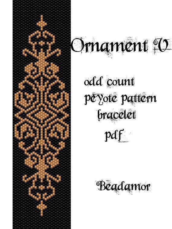 Peyote Pattern for bracelet: Ornament V - INSTANT DOWNLOAD pdf                                                                                                                                                                                 More