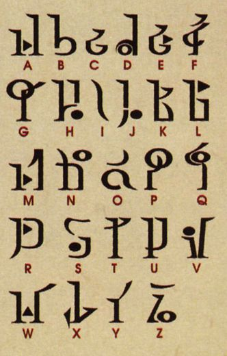 Hyrulian Alphabet Translation Chart:  For those unacquainted that't the land from the Zelda games.