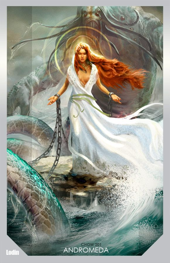 Andromeda- in Greek mythology, she was the daughter to Cepheus and Cassiopeia. Her mother's huberous towards the goddess Thetis led towards Andromeda being stripped naked and chained to a rock as a sacrifice to Cetus, the Kraken.
