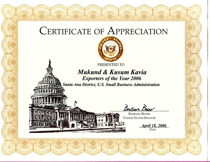 Cai Recevied The  Us Small Business Association Certificate Of