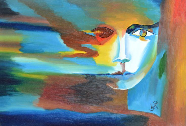 modern art of face in oil color
