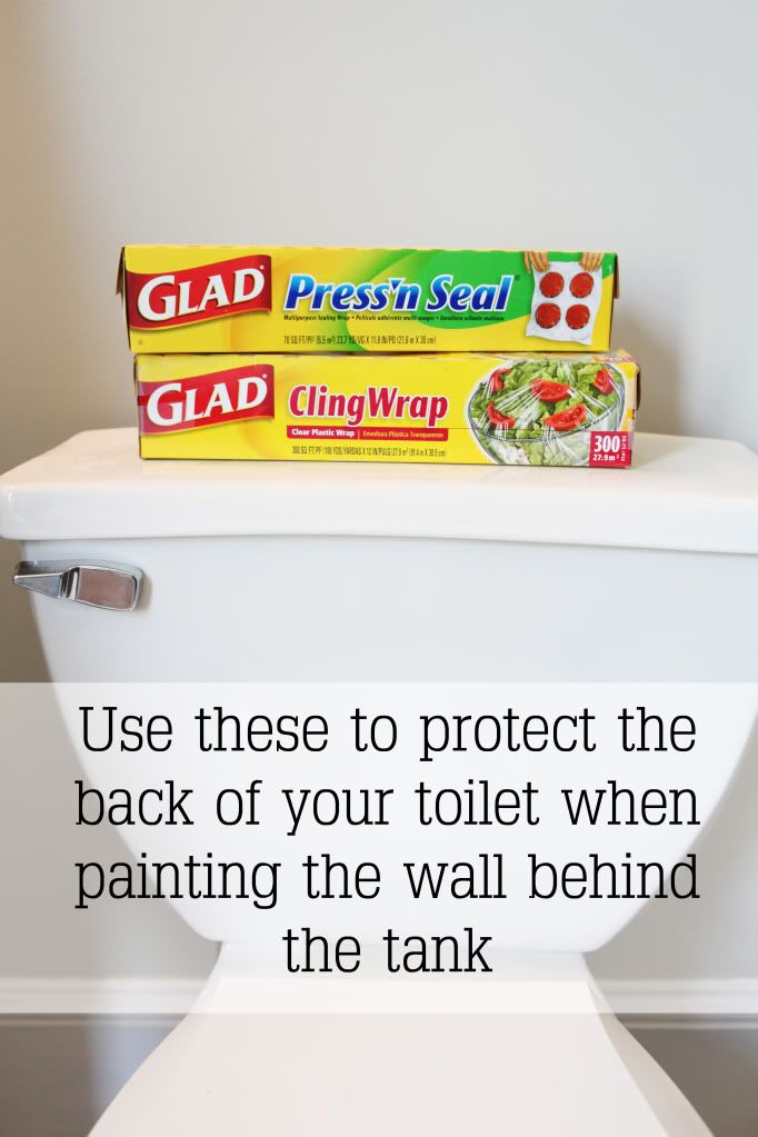 When painting behind the toilet tank, wrap the back and top of the tank with saran wrap and then peel it off after the paint dries. No mess! (by Bower Power)
