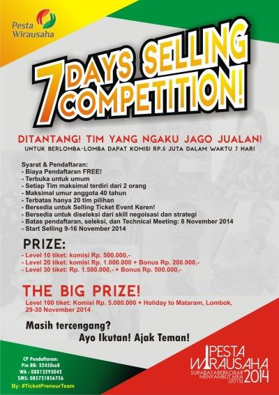 """7 Days Selling Competition """"Pesta Wirausaha 2014 ..."""