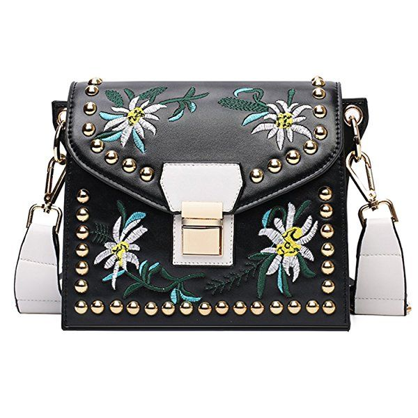 BYD Femme Mini sac de mode en cuir Femme sac à bandoulière de sac à main Sac de motif de broderie Vintage(noir)