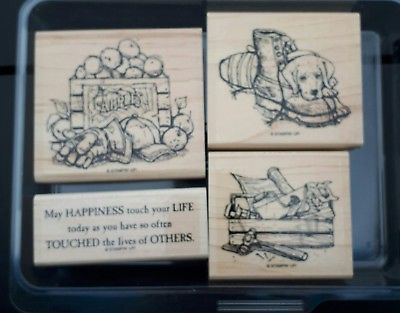 FOR-FATHER-Stampin-039-Up-4-pc-Mounted-Rubber-Stamp-Set-2002-Rare-DOG-TOOLS