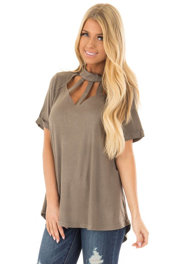 Lime Lush Boutique - Olive High Neck Top with Caged Neckline, $39.99 (https://www.limelush.com/olive-high-neck-top-with-caged-neckline/)