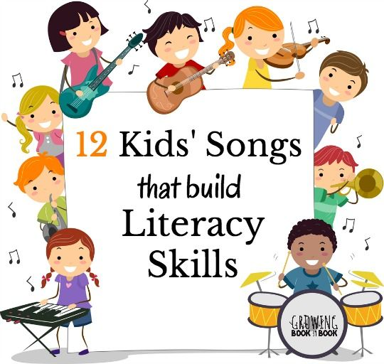 Fun song playlist to listen and sing to for building literacy skills. Titles include kids songs about the alphabet, rhyme and other phonemic awareness skills.