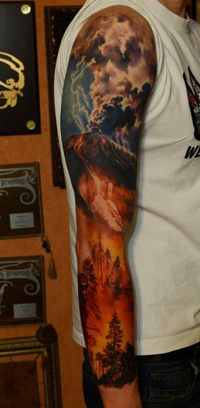 Volcano tattoo by den yakovlev tattoo pinterest for Higher ground tattoo