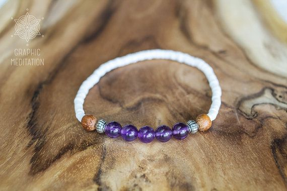 Purple amethyst bracelet White shells and by GraphicMeditation