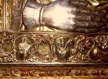 """Чудотворная икона Божией Матери """"Троеручица"""" в окладе. Монастырь Хиландар на Святой Горе Афон. Фрагмент."""