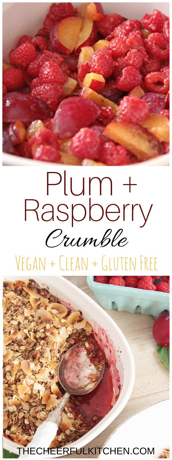 The Cheerful Kitchen / This Vegan Dessert, Clean Eating Recipe, Gluten Free Recipe for Plum + Raspberry Crumble is delicious with a scoop of dairy free ice cream! Get the recipe now!