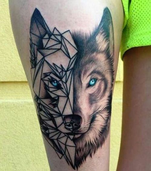 Geometric Wolf Sleeve: Pin By ℞ On ღ Tattoos ღ
