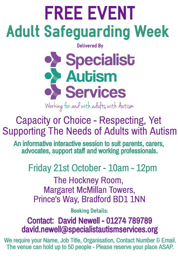Free Event Provided by Specialist Autism Services