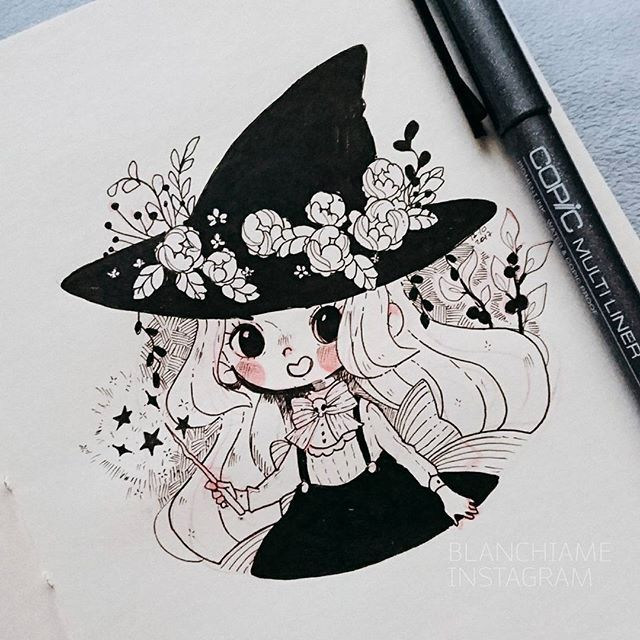 [Inktober day 17] I missed yesterday, but oh well. Here is just a little witch and flowers cuz i dont know what to draw xD  #Inktober #inktober2017 #ink #witch #instaart #doodleoftheday