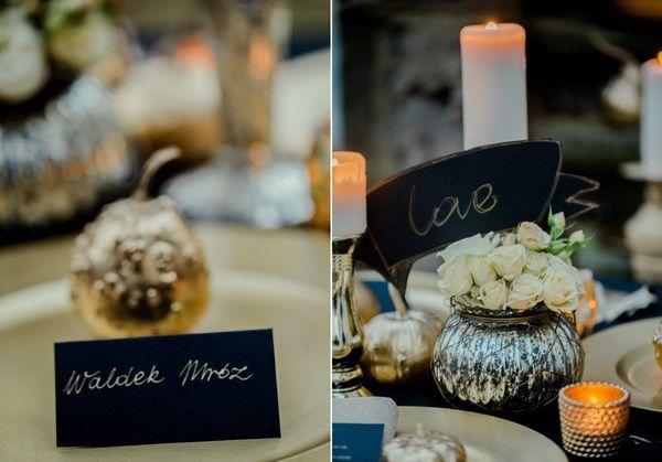 złote dodatki na stół weselny i złote akcenty na ślub i wesele, jesienna sesja ślubna z motywem złota