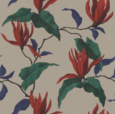 rasch Tapete Sophie Charlotte 440430 Braun Rot , Blau , Grün Blumen , Natur
