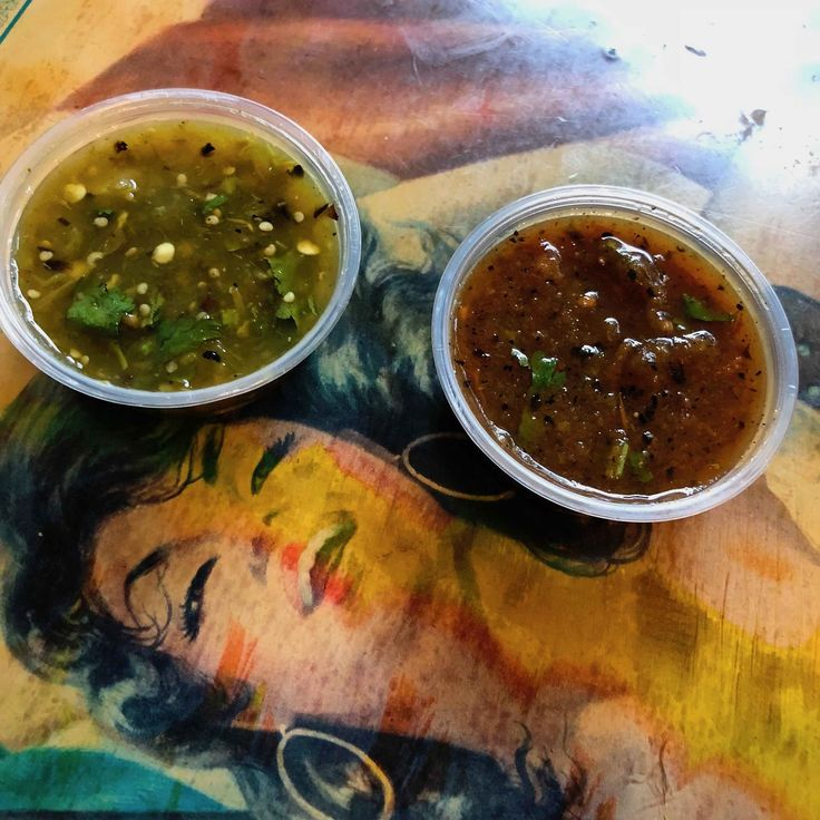 salsa varieties (see--even she likes them!) at Taqueria La Cumbre