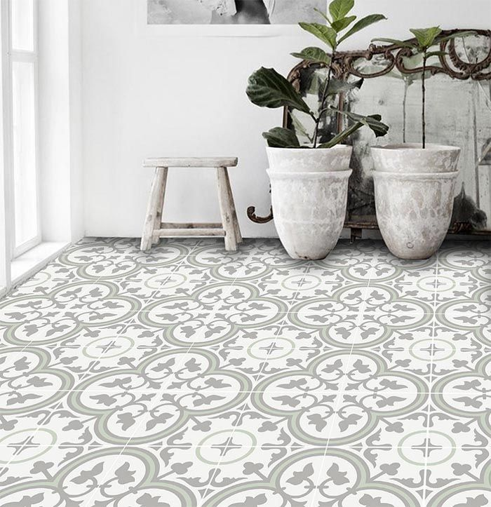 These Trefle Thistle Tiles Come In A Nice Mint Grey White Color Palette That Would Add Color And Bri Peel And Stick Floor Unique Flooring Patterned Floor Tiles