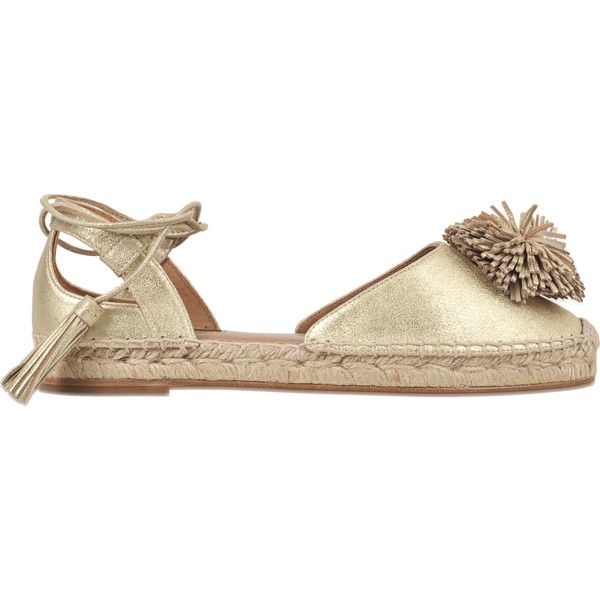 Aquazzura Sunshine espadrille flat ($228) ❤ liked on Polyvore featuring shoes, flats, gold, flat espadrilles, aquazzura espadrilles, aquazzura flats, aquazzura shoes and gold espadrilles