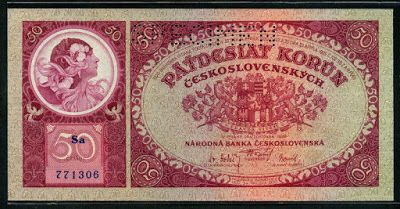 Czechoslovakian currency 50 Czech korun banknote, Jaroslava Mucha as Slavia