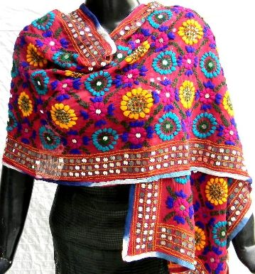 This stunning georgette dupatta/stole is embroidered with wool using traditional phulkari embroidery