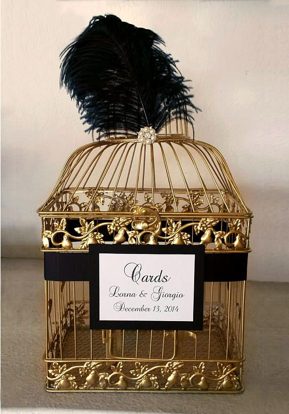 Large Great Gatsby Wedding Card Holder, Gold Bird Cage with Black Ostrich Feathers